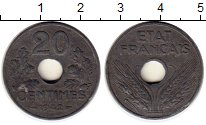 Изображение Монеты Франция 20 сантим 1942 Цинк XF