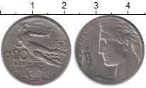 Изображение Монеты Италия 20 сентесим 1922 Медно-никель XF