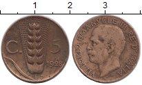 Изображение Монеты Италия 5 сентесим 1928 Бронза XF-