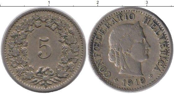 Картинка Монеты Швейцария 5 рапп Медно-никель 1919