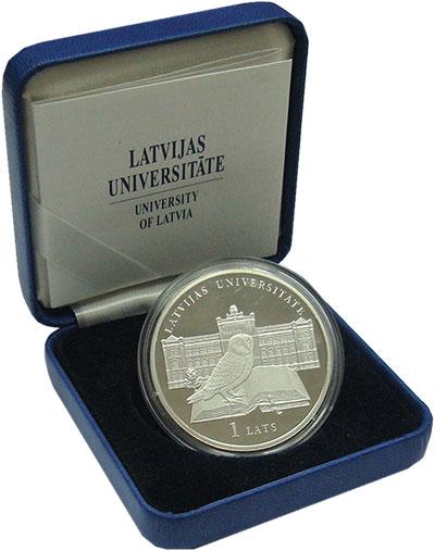 Изображение Подарочные монеты Латвия 1 лат 2009 Серебро Proof- Университет Латвии<