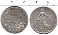 Изображение Монеты Франция 1 франк 1913 Серебро XF