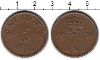 Изображение Монеты Норвегия 5 эре 1952 Бронза XF