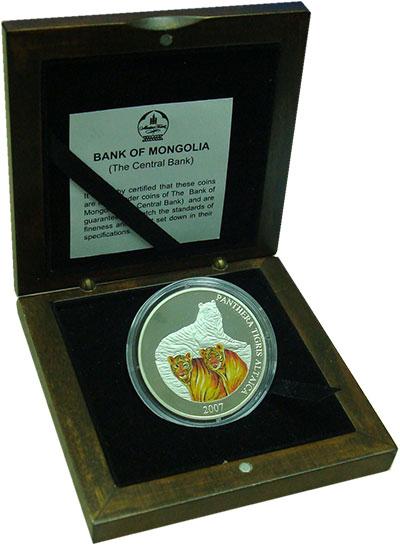 Изображение Подарочные монеты Монголия 5.000 тугриков 2007 Серебро Proof Тигры. Серебро 999.