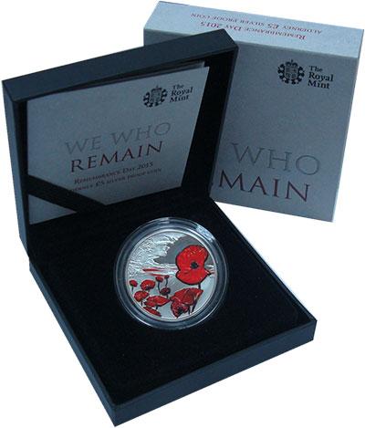 Изображение Подарочные монеты Олдерни 5 фунтов 2015 Серебро Proof- Мы помним ! В память