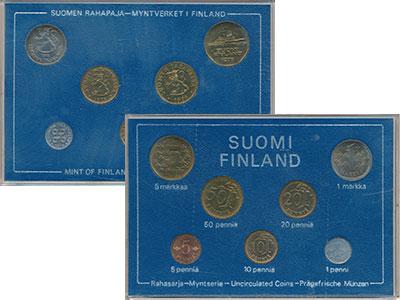 Изображение Подарочные монеты Финляндия Набор монет 1974 года 1974  UNC Годовой набор из сем