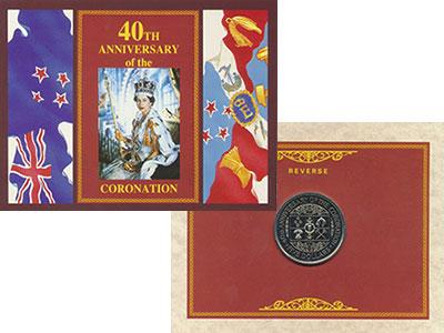 Изображение Подарочные монеты Новая Зеландия 5 долларов 1993 Медно-никель UNC 40 лет коронации Кор