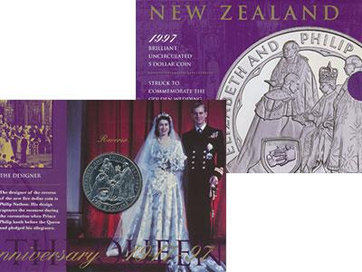 Изображение Подарочные монеты Новая Зеландия Золотой юбилей бракосочетания Елизаветы и Филиппа 1997 Медно-никель UNC Подарочная монета по
