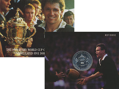 Изображение Подарочные монеты Новая Зеландия 5 долларов 1991 Медно-никель UNC Чемпионат мира по ре