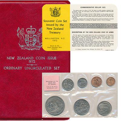 Изображение Подарочные монеты Новая Зеландия Регулярный чекан 1972 года 1972  UNC В наборе 7 монет ном