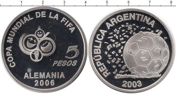 Купить монету 5 песо Аргентина 2003 Чемпионат мира по футболу в Германии цена 2490 руб. Серебро TL11-12