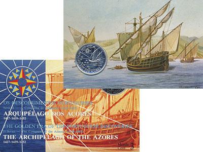 Изображение Подарочные монеты Португалия 100 эскудо 1989 Серебро BUNC Открытие Азорских ос