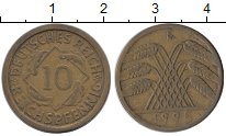 Изображение Монеты Германия Веймарская республика 10 пфеннигов 1925 Латунь XF