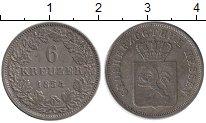 Изображение Монеты Германия Гессен-Дармштадт 6 крейцеров 1854 Серебро XF