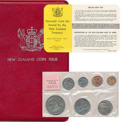 Изображение Подарочные монеты Новая Зеландия Регулярный чекан 1973 года 1973  UNC- В наборе 7 монет ном