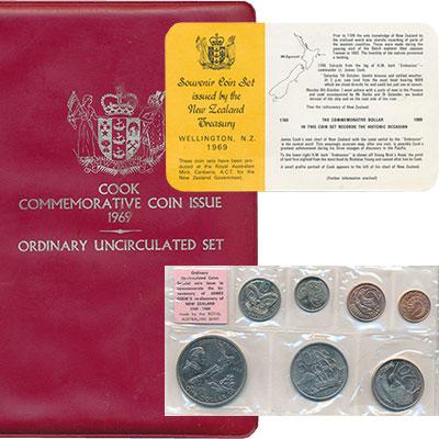 Изображение Подарочные монеты Новая Зеландия Выпуск 1969 1969  UNC Регулярный выпуск 19