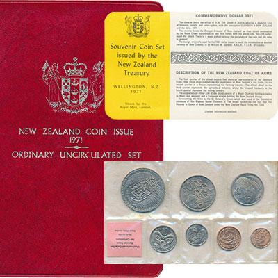 Изображение Подарочные монеты Новая Зеландия Набор 1971 года 1971  UNC В наборе 7 монет ном