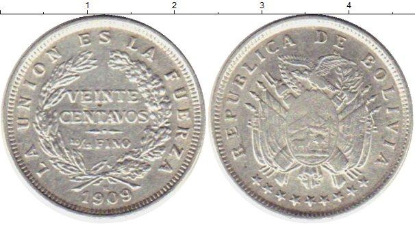 Картинка Монеты Боливия 20 сентаво Серебро 1909