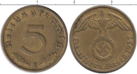 Картинка Монеты Третий Рейх 5 пфеннигов Латунь 1937
