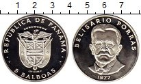 Изображение Монеты Панама 5 бальбоа 1977 Серебро Proof
