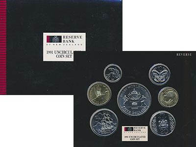 Изображение Подарочные монеты Новая Зеландия Набор 1991 года 1991  UNC Набор из шести монет