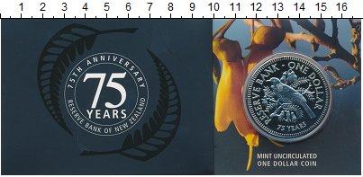 Изображение Подарочные монеты Новая Зеландия 1 доллар 2009 Медно-никель UNC 75 лет Резервному ба