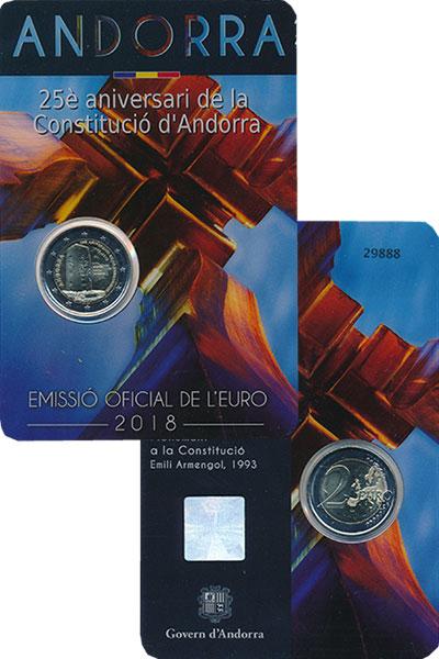 Изображение Подарочные монеты Андорра 2 евро 2018 Биметалл UNC 25-летие Конституции