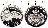 Изображение Монеты Сан-Марино 5000 лир 2001 Серебро Proof