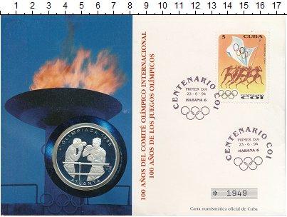 Изображение Подарочные монеты Куба 10 песо 1994 Серебро Proof Олимпийские игры,бок