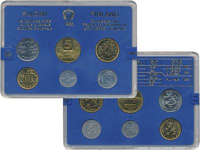 Изображение Подарочные монеты Финляндия Набор монет 1985 года 1985  UNC Годовой набор из шес