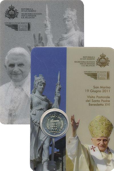 Изображение Подарочные монеты Сан-Марино 2 евро 2011 Биметалл UNC Дворец правительства