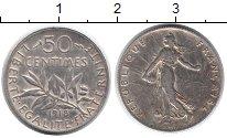 Монета Франция 50 сантим Серебро 1918 XF фото