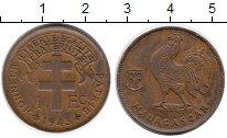 Изображение Мелочь Мадагаскар 1 франк 1943 Бронза XF