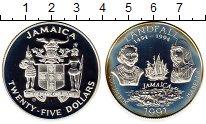 Изображение Монеты Ямайка 25 долларов 1991 Серебро Proof-