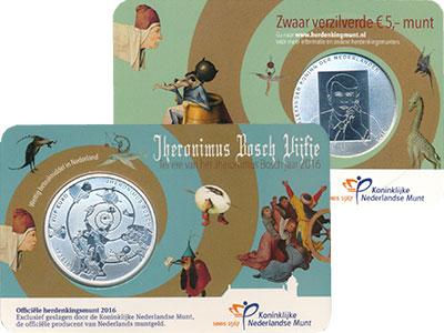 Изображение Подарочные монеты Нидерланды 5 евро 2016 Посеребрение UNC 500 - летие  со  дня