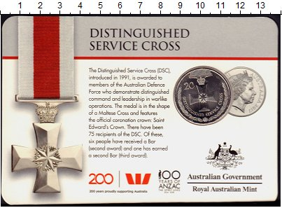 Изображение Монеты Австралия 20 центов 2017 Медно-никель UNC Награды,Ордена и Мед