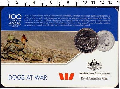 Изображение Монеты Австралия 20 центов 2016 Медно-никель UNC Собаки на войне