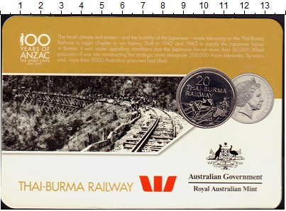Изображение Подарочные монеты Австралия 20 центов 2016 Медно-никель UNC Железная дорога