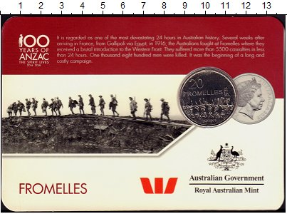 Изображение Подарочные монеты Австралия 20 центов 2016 Медно-никель UNC Австралия в войнах