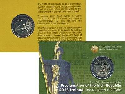 Изображение Подарочные монеты Ирландия 2 евро 2016 Биметалл UNC 100 лет Пасхальному