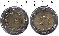 Монета Швейцария 5 франков Биметалл 1999 UNC- фото