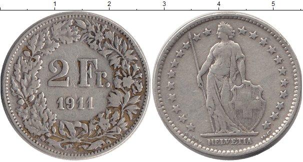 Картинка Монеты Швейцария 2 франка Серебро 1911