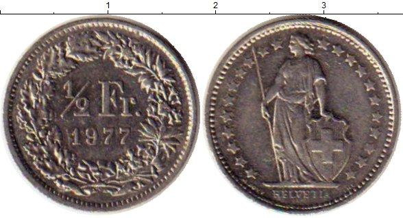 Картинка Монеты Швейцария 1/2 франка Медно-никель 1977