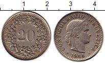 Изображение Монеты Швейцария 20 рапп 1944 Медно-никель XF
