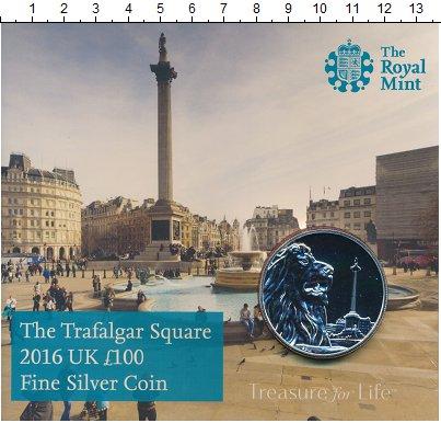 Изображение Подарочные монеты Великобритания 100 фунтов 2016 Серебро BUNC Трафальгарская площа