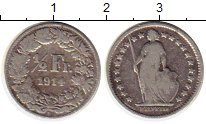 Изображение Монеты Швейцария 1/2 франка 1914 Серебро VF