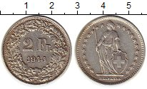 Изображение Монеты Швейцария 2 франка 1944 Серебро XF