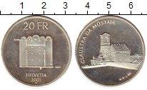 Изображение Монеты Швейцария 20 франков 2001 Серебро UNC-
