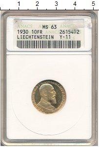 Изображение Монеты Лихтенштейн 10 франков 1930 Золото UNC
