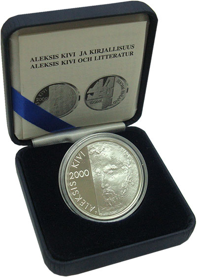Изображение Подарочные монеты Финляндия 100 марок 2000 Серебро Proof Алексис Киви.<br>Ор